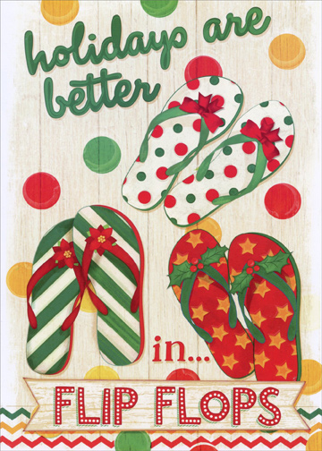 ba64d4730 Christmas Flip Flops  Box of 18 Mollie B Warm Weather Christmas Cards