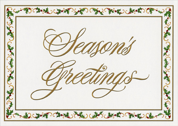 Gold Foil Embossed Season S Greetings With Holly Border Christmas Card By Lpg Greetings