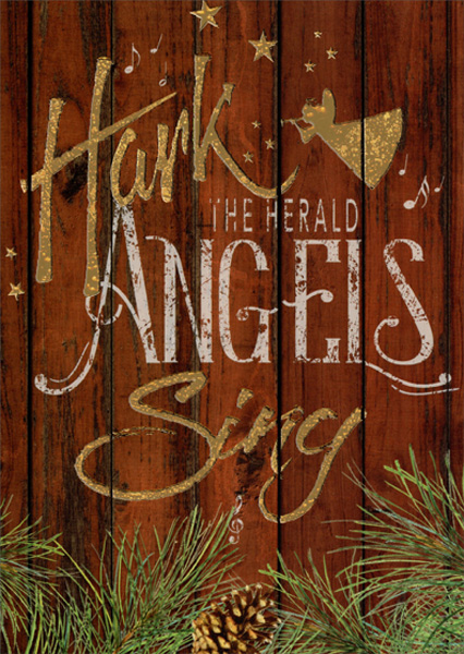 Details About Hark The Herald Angels Sing Box Of 14 Gold Foil Religious Christmas Cards