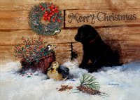 Black Lab Puppy in Snow Box of 14 Christmas Cards