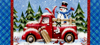 Winter Truck and Snowman Christmas Card