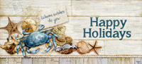 Happy Holidays Shells and Crab Box of 14 Christmas Cards