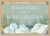 Shimmering Shells on Beach Box of 12 Christmas Cards