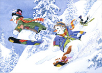 Snowboarding Snowmen, Dog and Cat Christmas Card