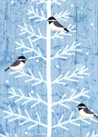 Chickadees on White Tree Branches Box of 18 Christmas Cards