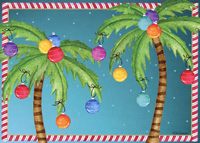 Colorful Ornaments in Palm Trees Box of 18 Christmas Cards