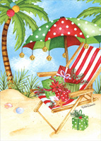 Polka Dot Umbrella and Red and White Chair on Beach Christmas Card