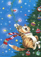 Cat Swinging from Christmas Tree Lights Box of 18 Christmas Cards