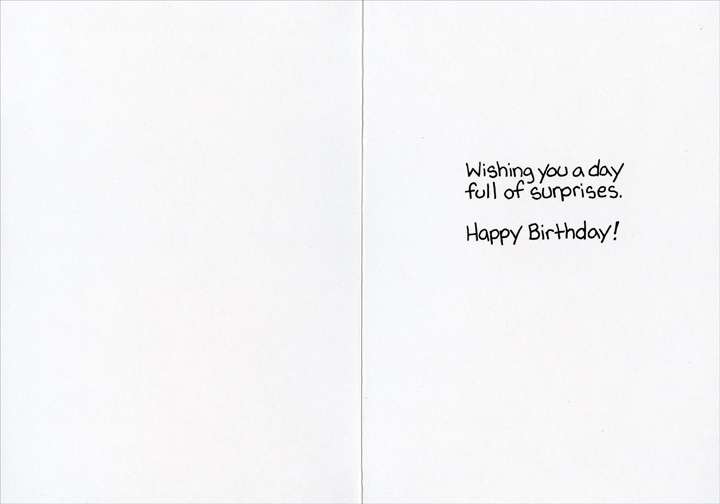 Nail is Gone (1 card/1 envelope) - Birthday Card - FRONT: �And then I heard a loud bang and when I turned back he was gone!  INSIDE: Wishing you a day full of surprises. Happy Birthday!