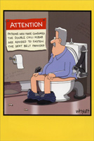 Warning in Bathroom Stall (1 card/1 envelope) Nobleworks Funny Tim Whyatt Birthday Card