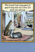 Cats & Yoga (1 card/1 envelope) Nobleworks Funny Birthday Card