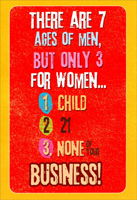 Ages of Women (1 card/1 envelope) - Birthday Card - FRONT: There are 7 ages of men, but only 3 for women� 1. child 2. 21 3. none of your business!  INSIDE: Celebrate your birthday like it's nobody's business.