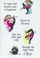 8 Steps of Yoga (1 card/1 envelope) Nobleworks Funny Birthday Card