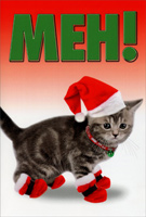 Meh-rry Christmas (1 card/1 envelope) - Christmas Card - FRONT: Meh!  INSIDE: Meh-rry Christmas!