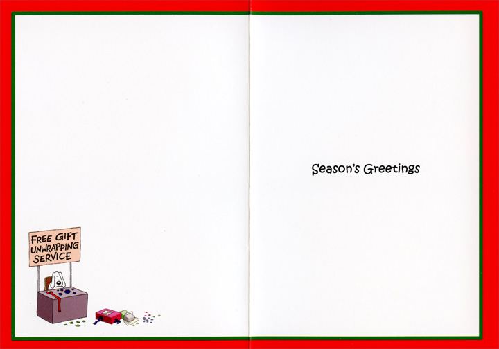 Gift Unwrapping Service (12 cards/12 envelopes) - Boxed Christmas Cards - FRONT: Free Gift Unwrapping Service  INSIDE: Season's Greetings