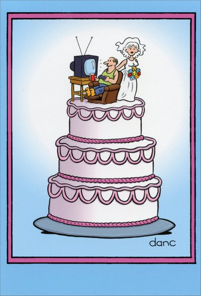 Wedding Cake (1 card/1 envelope) Nobleworks Funny Dan Collins Anniversary Card - FRONT: No Text  INSIDE: Happy Anniversary.