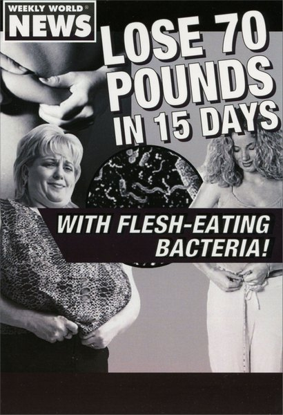 Lose 70 Pounds (1 card/1 envelope) Nobleworks Funny Birthday Card - FRONT: Weekly world news. Lose 70 pounds in 15 days with flesh-eating bacteria!  INSIDE: Go ahead, have some cake. Happy Birthday!