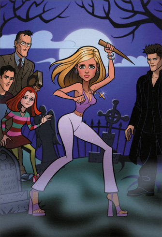 Divas - Buffy (1 card/1 envelope) Nobleworks Funny Birthday Card - FRONT: No Text  INSIDE: Too bad only vampires are ageless..Happy Birthday!