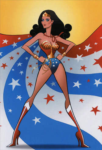 Divas - Wonder Woman (1 card/1 envelope) Nobleworks Funny Birthday Card - FRONT: No Text  INSIDE: Hope your birthday is wonderwoman-ful.