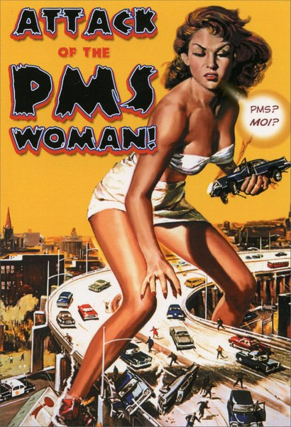 PMS Woman (1 card/1 envelope) Nobleworks Funny Birthday Card - FRONT: ATTACK OF THE PMS WOMAN!  INSIDE: It's that time of the year again..be afraid, very afraid.  Happy Birthday!