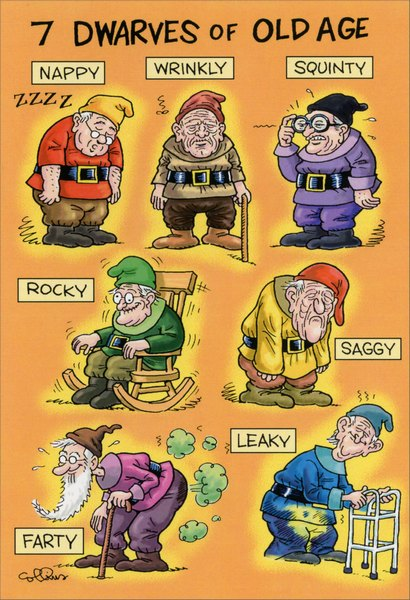Old Age Dwarves (1 card/1 envelope) - Birthday Card - FRONT: 7 dwarves of old age: nappy, wrinkly, squinty, rocky, saggy, farty, leaky  INSIDE: You're only as old as you feel. Happy Birthday!