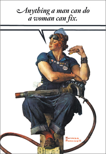 Woman Can Fix (1 card/1 envelope) Nobleworks Funny Norman Rockwell Birthday Card - FRONT: Anything a man can do a woman can fix.  INSIDE: Fix yourself up a Happy Birthday!