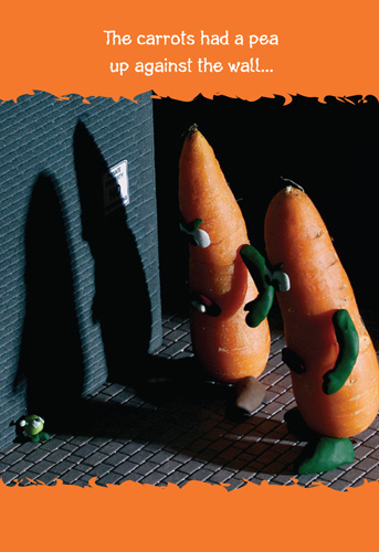 Up Against The Wall (1 card/1 envelope) Nobleworks Funny Birthday Card - FRONT: The carrots had a pea up against the wall�  INSIDE: Hope your birthday is off the wall!