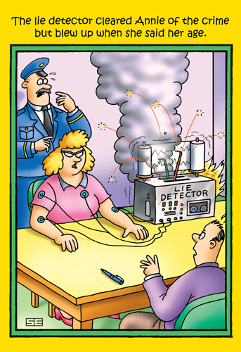 Lie Detector (1 card/1 envelope) Nobleworks Funny Stan Eales Birthday Card - FRONT: The lie detector cleared Annie of the crime but blew up when she said her age.  INSIDE: Getting older really blows..but you can still have a Happy Birthday.
