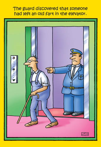 Old Fart in Elevator (1 card/1 envelope) Nobleworks Funny Stan Eales Birthday Card - FRONT: The guard discovered that someone had left an old fart in the elevator.  INSIDE: Getting older really stinks.. Have a Happy Birthday anyway.