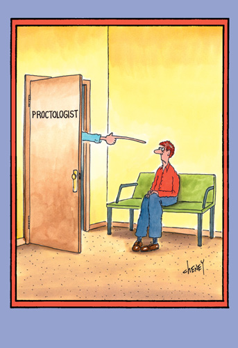Proctologist (1 card/1 envelope) Nobleworks Funny Tom Cheney Get Well Card - FRONT: Proctologist  INSIDE: Here's to a very short recovery..Get well soon.