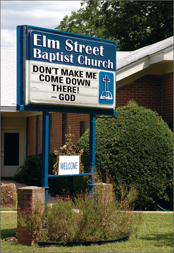 Church Sign (1 card/1 envelope) Nobleworks Funny Father's Day Card - FRONT: Elm Street Baptist Church  Don't Make Me Come Down There! --God  INSIDE: Happy Father's Day from your greatest creation!