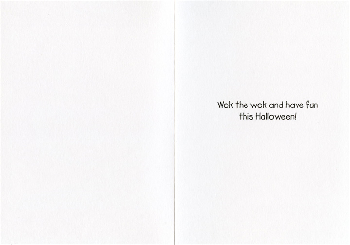 Dead Man Wokking (1 card/1 envelope) Nobleworks Funny Halloween Card - FRONT: Dead Man Wokking - Kiss the Corpse  INSIDE: Wok the wok and have fun this Halloween!