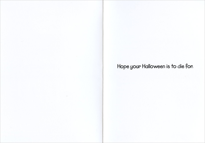 Order The Stake (1 card/1 envelope) Nobleworks Funny Halloween Card - FRONT: I told you not to order the stake.  INSIDE: Hope your Halloween is to die for.