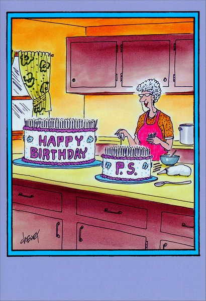 Happy Birthday P.S. (1 card/1 envelope) Nobleworks Funny Birthday Card - FRONT: Happy Birthday - P.S.  INSIDE: Happy birthday, and many more.