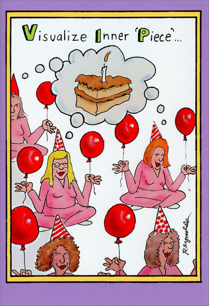 Inner Piece (1 card/1 envelope) Nobleworks Funny Birthday Card - FRONT: Visualize Inner 'Piece'�  INSIDE: Take a deep breath and have a happy birthday!