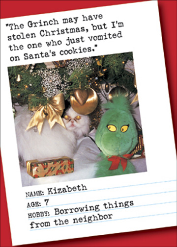 "Vomited on Cookie (1 card/1 envelope) Bad Cat Funny Christmas Card - FRONT: ""The Grinch may have stolen Christmas, but I'm the one who just vomited on Santa's cookies.""  Name: Kizabeth  Age: 7  Hobby: Borrowing things from the neighbor  INSIDE: Merry Christmas!"