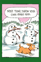Dog Fetches Snowman Arm Box of 12 Christmas Cards