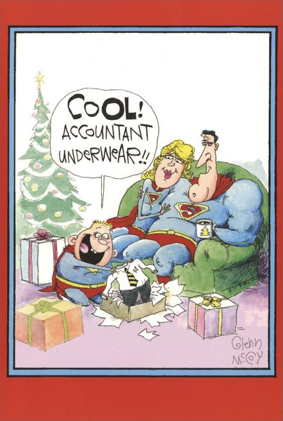 Accountant Super Christmas (1 card/1 envelope) Funny Christmas Card - FRONT: COOL! Accountant underwear!!  INSIDE: Have a SUPER Christmas!