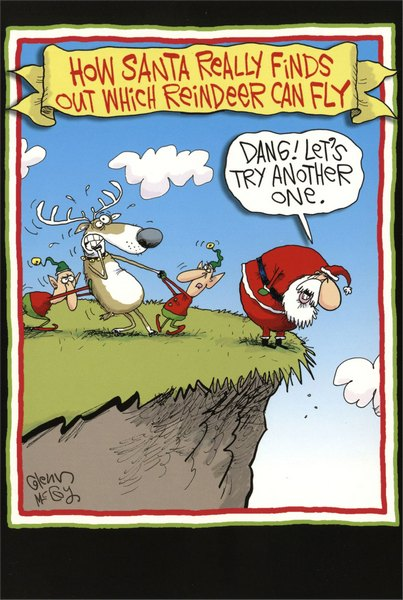 Reindeer Can Fly (12 cards & 12 envelopes) - Boxed Christmas Cards - FRONT: How Santa really finds out which reindeer can fly - �Dang! Let's try another one.�  INSIDE: Jump for joy! It's Christmas