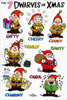 7 Dwarves of Christmas Box of 12 Christmas Cards