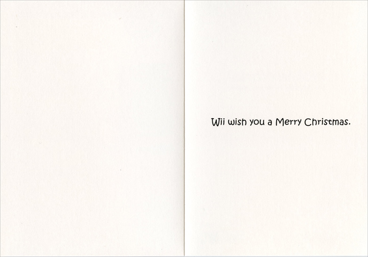 Wii Knitting (1 card/1 envelope) - Christmas Card - FRONT: Wii Knitting - Merry Christmas  INSIDE: Wii wish you a Merry Christmas.