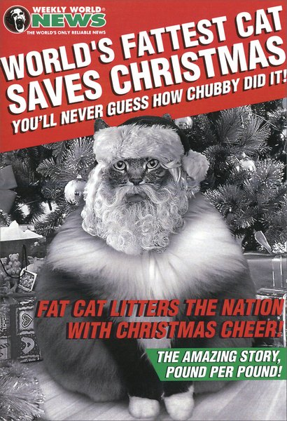 World's Fattest Cat (1 card/1 envelope) Funny Cat Christmas Card - FRONT: Weekly World News  The World's Only Reliable News  World's Fattest Cat Saves Christmas  You'll Never Guess How Chubby Did It!  Fat Cat Litters the Nation with Christmas Cheer!  The Amazing Story, Pound per Pound!  INSIDE: Hope your Christmas is the cat's pajamas.  Happy Holidays!