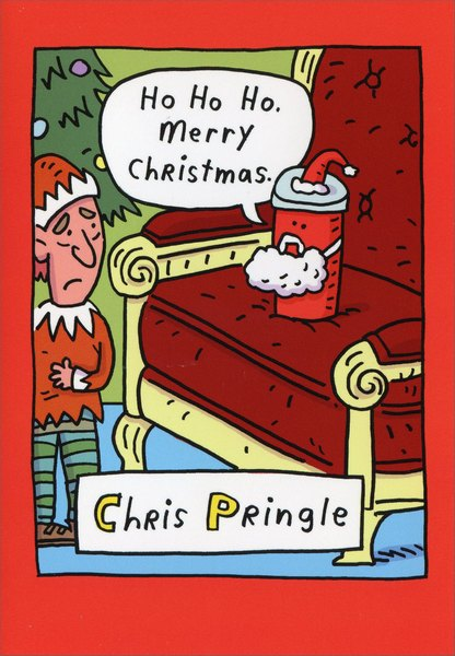 Chris Pringle (12 cards & 12 envelopes) Nobleworks Funny Boxed Christmas Cards - FRONT: Ho Ho HO.  Merry Christmas.   Chris Pringle  INSIDE: Seasoned Greetings.
