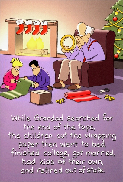 Grandad gift wrapping funny humorous christmas card by nobleworks negle Image collections
