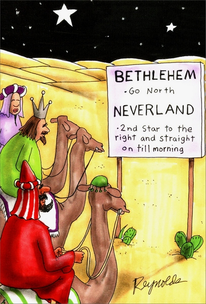 Neverland (1 card/1 envelope) Nobleworks Funny Christmas Card - FRONT: Bethlehem - Go North - Neverland - 2nd Star to the right and straight on till morning  INSIDE: Hope this card finds you well. Merry Christmas.