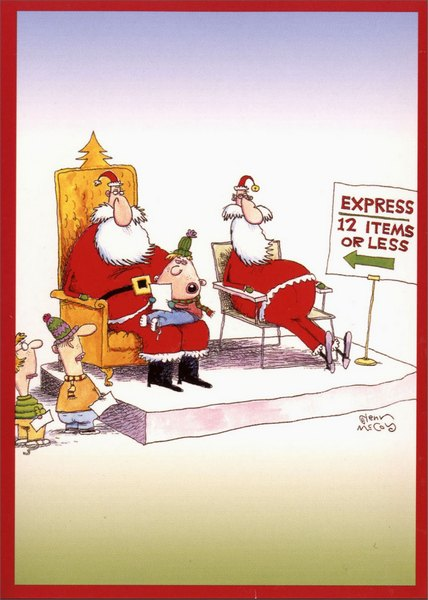 Express Santa (1 card/1 envelope) Money Holder - FRONT: Express - 12 Items or Less