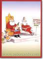 Express Santa (1 card/1 envelope) - Money Holder - FRONT: Express - 12 Items or Less