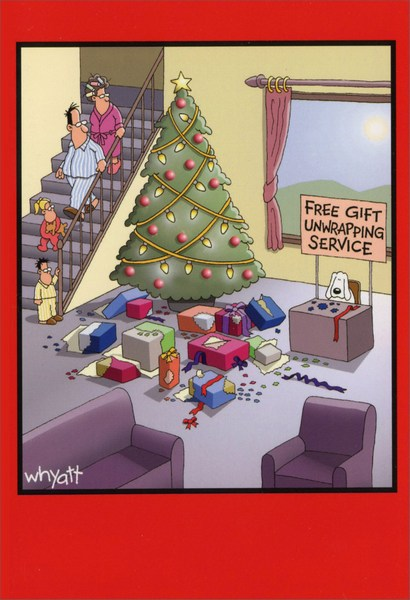 Gift unwrapping service funny humorous christmas card by nobleworks negle Images