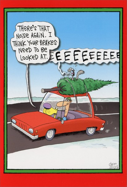 Squealing Brakes Box of 12 Funny / Humorous Christmas Cards by ...