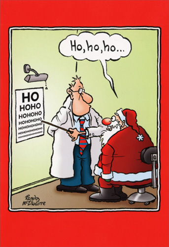 santa with eye doctor box of 12 funny christmas cards by nobleworks